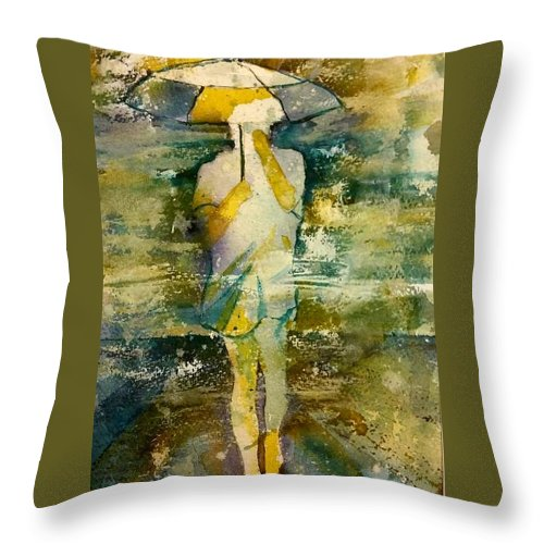Jo Malone Throw Pillow featuring the painting London Rain Theme by Debbie Lewis