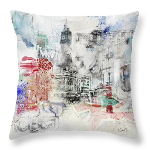 London Throw Pillow featuring the digital art London Study by Nicky Jameson
