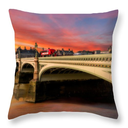 Sunset Throw Pillow featuring the photograph London Sunset by Adrian Evans