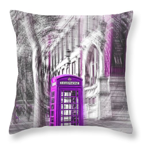 Victoria And Albert Museum Throw Pillow featuring the photograph London Telephone Purple by Alex Art and Photo