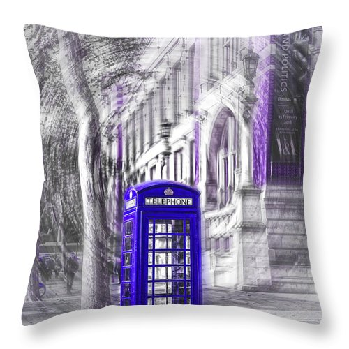 Victoria And Albert Museum Throw Pillow featuring the photograph London Telephone Purple Blue by Alex Art and Photo