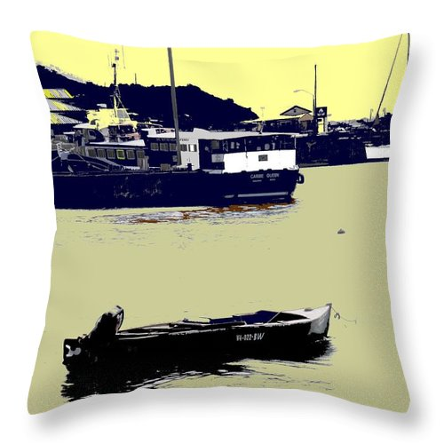 St Kitts Throw Pillow featuring the photograph Lone Boat by Ian MacDonald