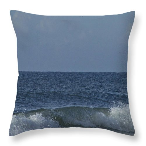 Boat Throw Pillow featuring the photograph Lone Boat On The Horizon by Teresa Mucha