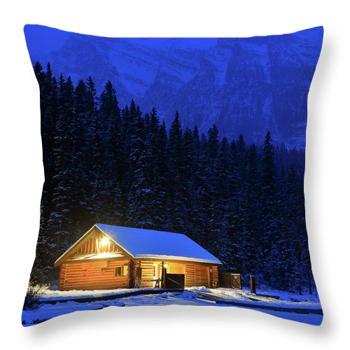 Banff Throw Pillow featuring the photograph Lone Cabin In The Rockies by James Kirkikis