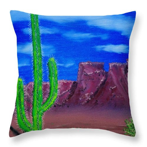 Desert Mountains Cactus West Throw Pillow featuring the painting Lone Cactus by Lawrence Booth
