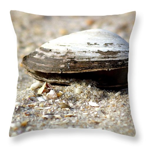 Shells Throw Pillow featuring the photograph Lone Clam by Mary Haber