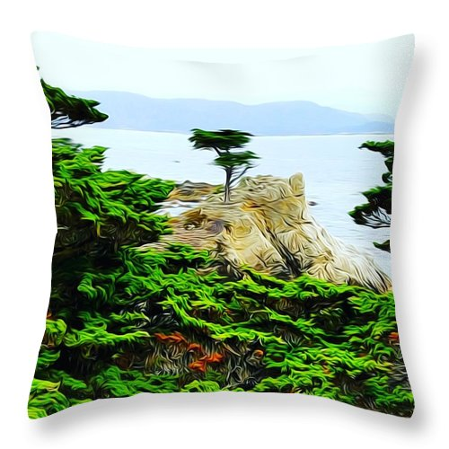 21 Mile Drive Monterey California Scenic Nature Tree Lone Cypress Ocean Green Highway 1 Sightseeing Landmark Throw Pillow featuring the photograph Lone Cypress by Wendy Johnson