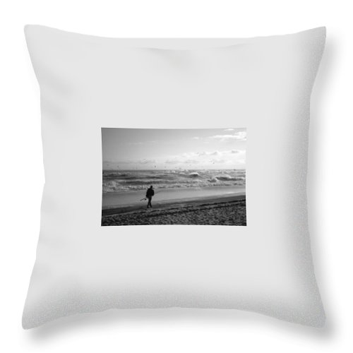 Sea Throw Pillow featuring the photograph Lone Fisherman by Linda C Johnson