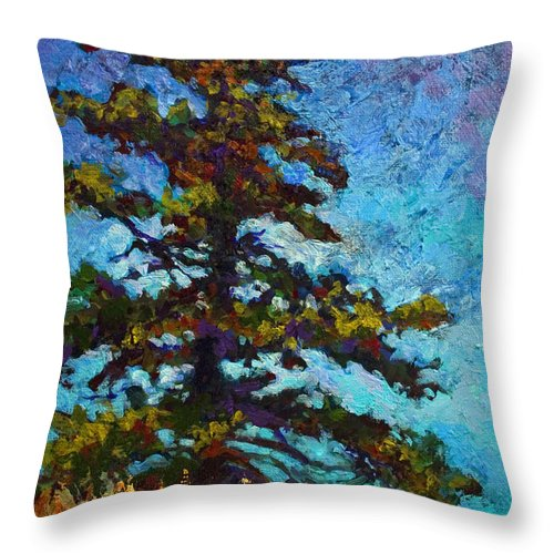 Trees Throw Pillow featuring the painting Lone Pine II by Marion Rose