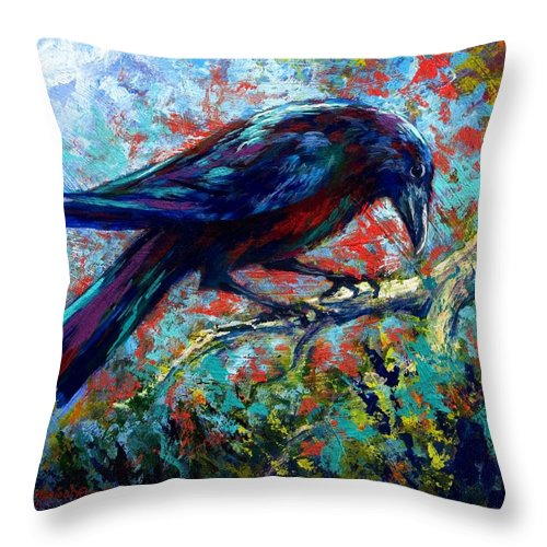 Crows Throw Pillow featuring the painting Lone Raven by Marion Rose
