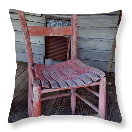 Chair Throw Pillow featuring the photograph Lone Red Chair by D Hackett