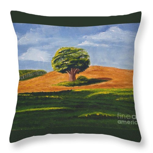 Tree Throw Pillow featuring the painting Lone Tree by Mendy Pedersen