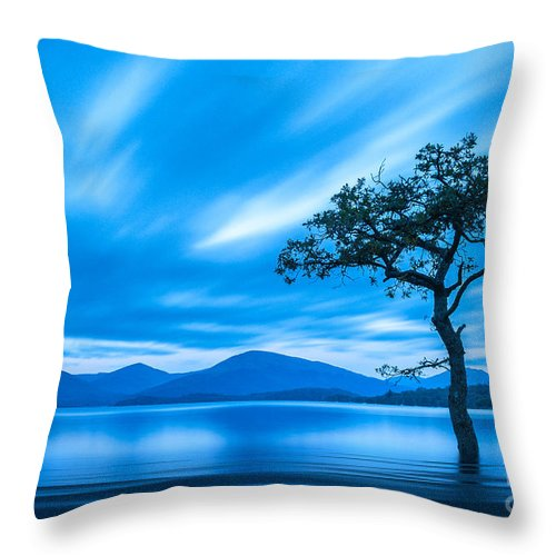 Milarrochy Bay Throw Pillow featuring the photograph Lone Tree Milarrochy Bay by Janet Burdon
