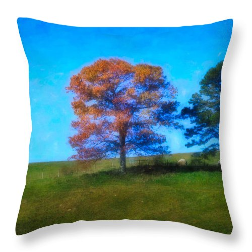 Fall Throw Pillow featuring the digital art Lone Trees Painting by Teresa Mucha