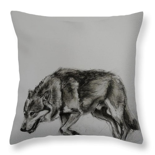 Wolf Throw Pillow featuring the painting Lone Wolf by Veronica Coulston