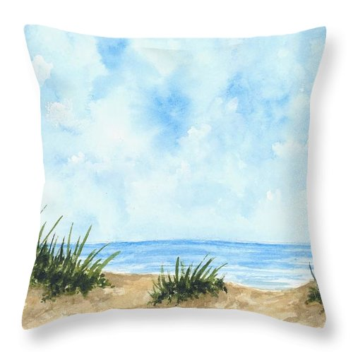 Beach Throw Pillow featuring the painting Lonely Beach by Michael Vigliotti