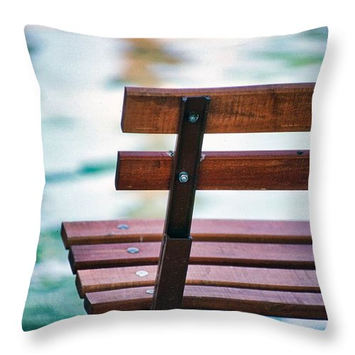 Park Throw Pillow featuring the photograph Lonely Bench by Harrison Hanville