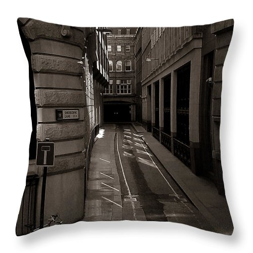 Black And White Throw Pillow featuring the photograph Lonely Going Home by Joseph G Holland