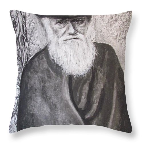 Charles Darwin Throw Pillow featuring the drawing Lonely Occupation - C. Darwin by Eric Dee