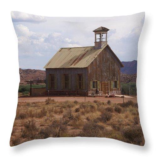 Old Building Throw Pillow featuring the photograph Lonely Schoolhouse by Marty Koch