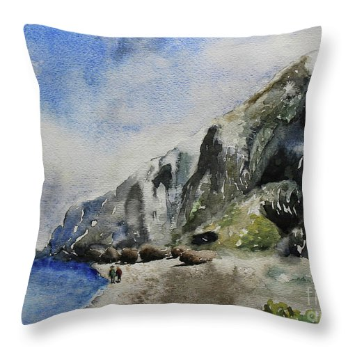 Throw Pillow featuring the painting Long Beach, Cayman Brac by Jerome Wilson