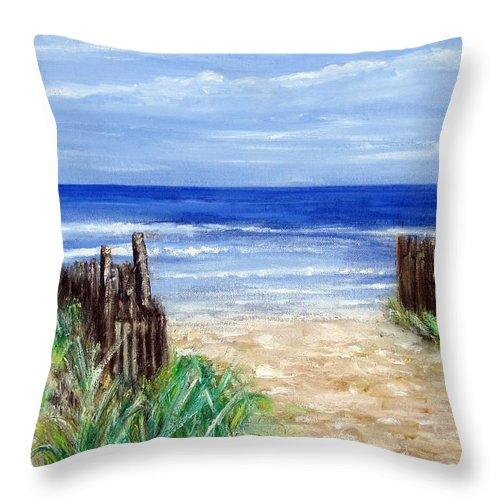 Nj Shore Throw Pillow featuring the painting Long Beach Island Nj by Leonardo Ruggieri