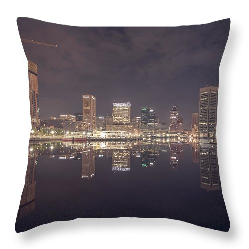 Sky Throw Pillow featuring the photograph Long Exposure Of The Colorful Baltimore Skyline by Alex Grichenko