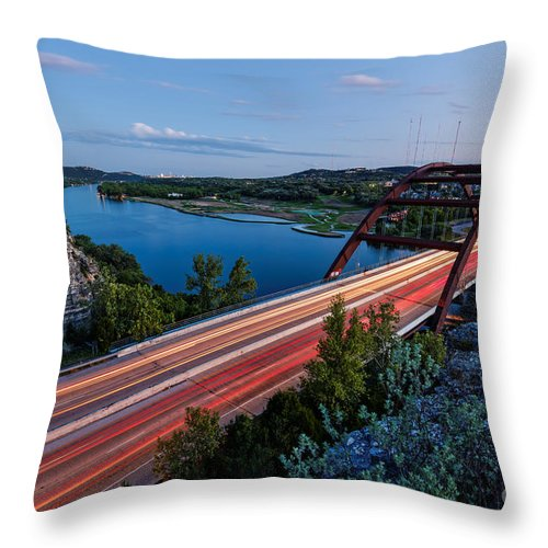 Percy Throw Pillow featuring the photograph Long Exposure View Of Pennybacker Bridge Over Lake Austin At Twilight - Austin Texas Hill Country by Silvio Ligutti