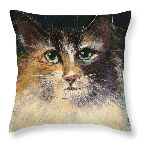 Cat Throw Pillow featuring the painting Long Haired Cat by Arline Wagner