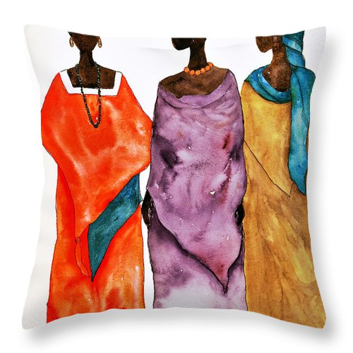 Ladies Throw Pillow featuring the painting Long Ladies by Renee Chastant