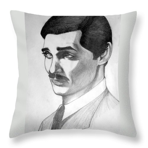 Portrait Throw Pillow featuring the drawing Long Live the King by Marco Morales