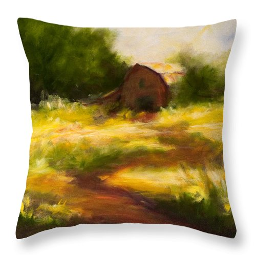 Landscape Throw Pillow featuring the painting Long Road Home by Shannon Grissom