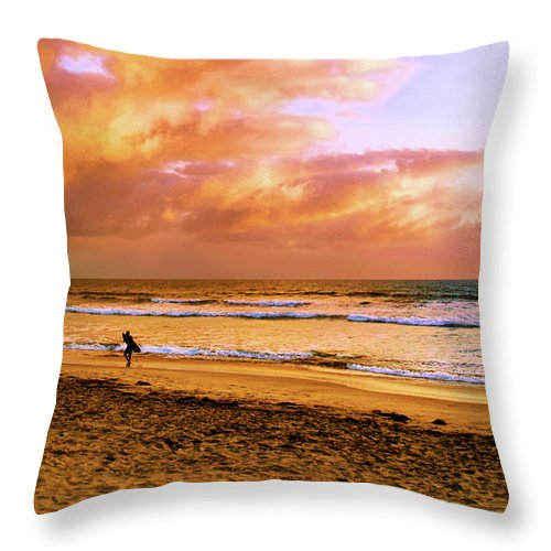Ocean Throw Pillow featuring the photograph Long Walk Home by Howard Bagley