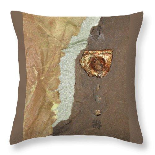 Collage Throw Pillow featuring the mixed media Longevity by Ellen Miffitt