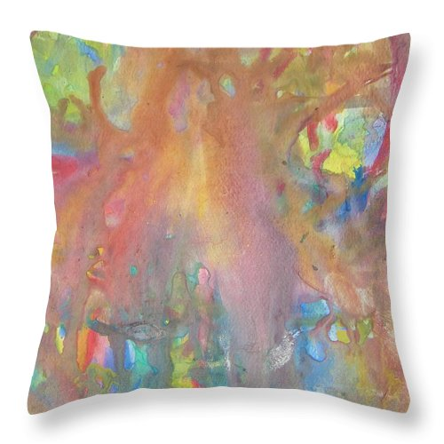 Abstract Throw Pillow featuring the painting Longhaired Nude by Judith Redman