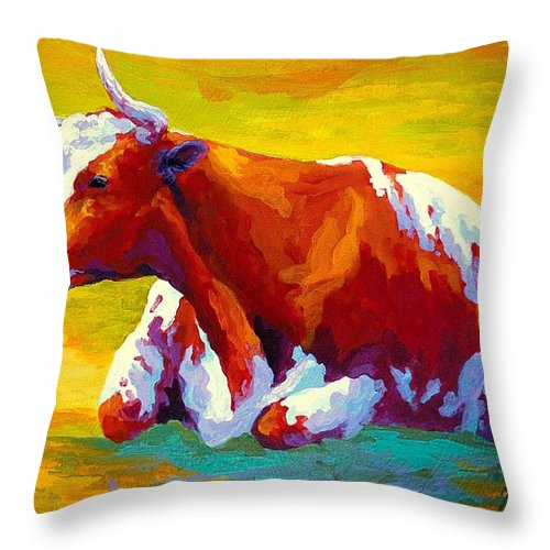 Western Throw Pillow featuring the painting Longhorn Cow by Marion Rose