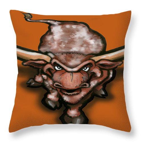 Longhorn Throw Pillow featuring the greeting card Longhorn by Kevin Middleton