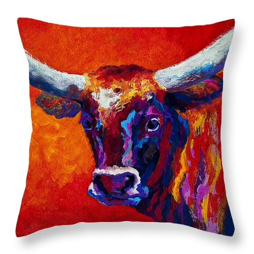 Longhorn Throw Pillow featuring the painting Longhorn Steer by Marion Rose