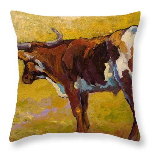 Longhorn Throw Pillow featuring the painting Longhorn Study by Marion Rose