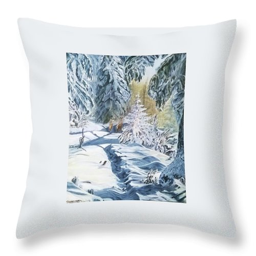 Snow Throw Pillow featuring the painting Longing by Thomas Moormann