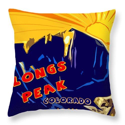 Longs Peak Throw Pillow featuring the digital art Longs Peak by David G Paul