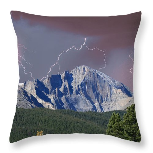 Longs Peak Throw Pillow featuring the photograph Longs Peak Lightning Storm Fine Art Photography Print by James BO Insogna