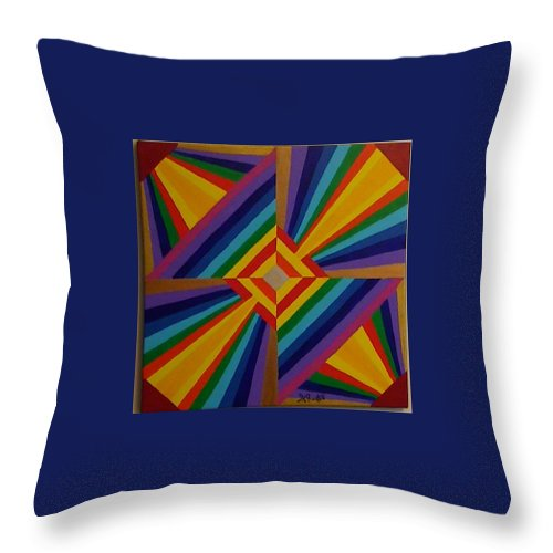 Geometric Abstract Throw Pillow featuring the painting Look Again by Dennis Rugtvedt