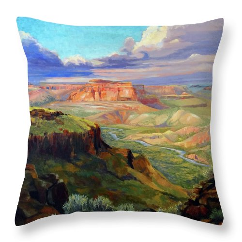 Landscape Throw Pillow featuring the painting Look out at White Rock by Nancy Paris Pruden