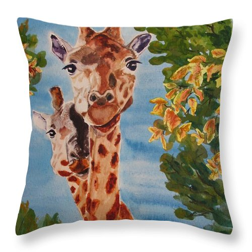 Giraffes Throw Pillow featuring the painting Lookin Back by Karen Ilari