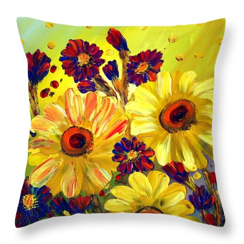 Flowers Throw Pillow featuring the painting Looking At Sun by Luiza Vizoli
