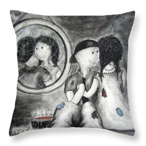 Ragdolls Throw Pillow featuring the drawing Looking Back by Cynthia Campbell