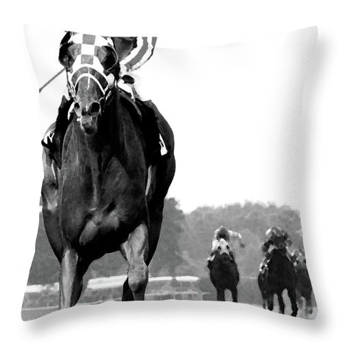 Looking Back Throw Pillow featuring the mixed media Looking back, 1973 Secretariat, stretch run, Belmont Stakes by Thomas Pollart