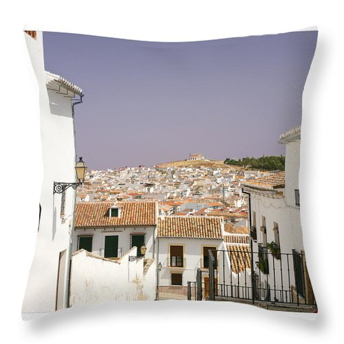 Antequera Throw Pillow featuring the photograph Looking Down Over Antequera From Near The Church Of Santa Maria La Mayor by Mal Bray