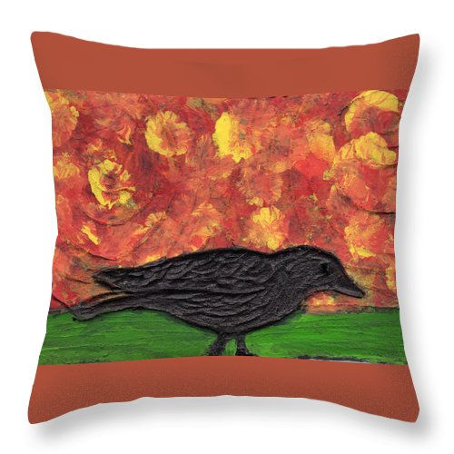 Bird Throw Pillow featuring the painting Looking For Dinner by Wayne Potrafka